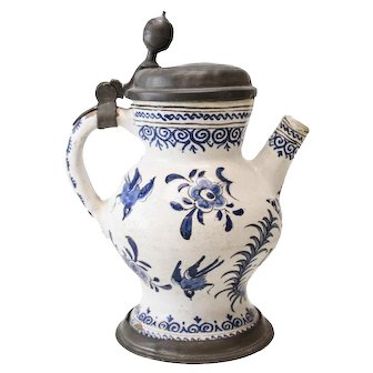 18th Century Pewter-mounted Dutch Faience Spouted Jug, Painted Blue and White