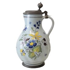 18th Century Pewter Mounted Continental Faience Ewer Jug, Polychrome