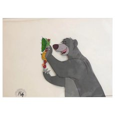 Disney Jungle Book animation cell Baloo the Bear picking fruit Bare Neccessities