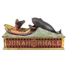 Mechanical Cast Iron Coin Bank, Jonah and the Whale, Shepard Hardware Co. c1900