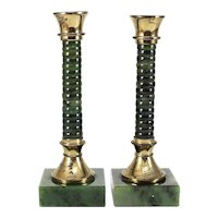 Pair of Nephrite Jade and Gilt Bronze Banded Candlesticks Mid Century Deep Green