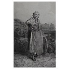 Paul Gavarni French 1804 - 1866 Lithograph Marchande De La Halle 1804-1866