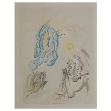 """Salvador Dali Woodblock Print 1960 Divine Comedy, """"Dante Regains His Sight"""""""