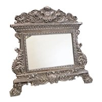 """Sterling Silver Repousse Easel Back Footed Table Mirror; with """"IHS"""" Emblem"""