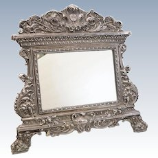 "Sterling Silver Repousse Easel Back Footed Table Mirror; with ""IHS"" Emblem"