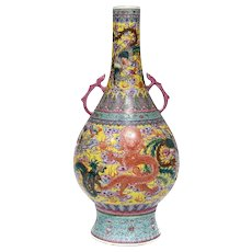 Chinese Porcelain Famille Verte Twin Handled Vase Dragons Phoenix 19th Century