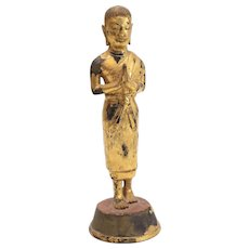 Thai Lacquer Gilt Bronze Luohan / Arhat buddhist Standing figure Anjali Mudra