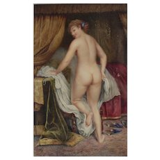Watercolor painting Nude portrait in Boudoir Late 19th / early 20th Century