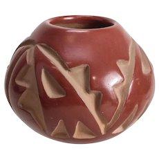 Helen Shupla (1928-1985) Santa Clara Pueblo Pottery Jar carved burnished redware