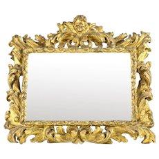 18th Century continental Wall Mirror gilt on gesso carved wood framed w/ Putti