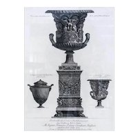 Giovanni Battista Piranesi Italian 1720-1778 Etching Vasi Candelabri