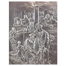 Sterling Silver Hand Chased Judaica Plaque, Scene in Synagog, Rabbi w/ Torah