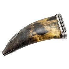 Czechoslovakian 800 Silver Horn Figural Pig Snuff Mull box Flask 18th century