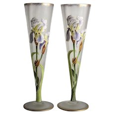 Pair Mont Joye Art Glass Iris Vases trumpet form Hand Painted Enamel early 20th