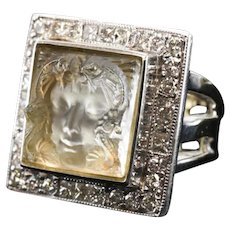 Lalique Art Glass Arethuse Ring 14k white Gold 32 diamonds round, square Sz 6