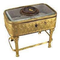 Continental Gilt Bronze Footed Dresser Casket Box Crepuscule A. Bazgas 19th Cent
