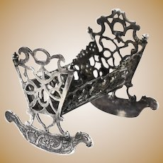 18th Century Miniature Sterling Silver Rocking Cradle, Dated 1732. BK Mark
