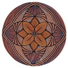 American Pottery Bowl Raised Enamel Dot Painted Mandala design signed RAM
