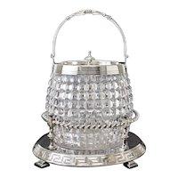 Antique English Crystal Silverplate Biscuit Box / Jar, Barrel Form, Diamond Cuts