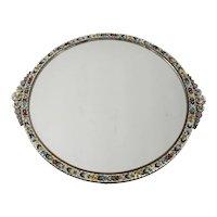 Italian Micro Mosaic Mirrored Footed Vanity Tray - floral mosaic frame, circa 1920