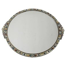 Italian Micro Mosaic Mirrored Footed Vanity Tray - floral mosaic frame, circa 1920