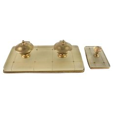 2pc Robert Linzeler Gilt Bronze, Crystal Double Inkwell Desk Set, Rocker Blotter