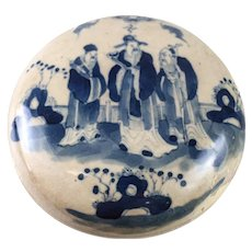 Antique Chinese Porcelain Blue and White Round Seal Paste Box, Sanxing Deities