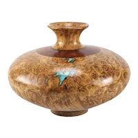 Richard Fitzgerald Maple Burl Black Walnut and Turquoise Turned Wood Vase
