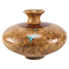Richard Fitzgerald Maple Burl Black Walnut and Turquoise Turned Wood Vase