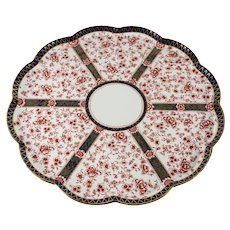 Royal Crown Derby Chatsworth Large Lazy Susan Serving Platter C1890 red floral