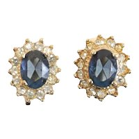 Pair of 14k Yellow Gold Sapphire Diamond Clip on Earrings. Oval Faceted Stones