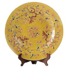 """16"""" Chinese Porcelain Famille Rose Magpie Platter 4 character Tongzhi Mark"""