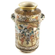 Miniature Satsuma Craquelure Vase Foo Dog handles 19th Century foo dogs signed