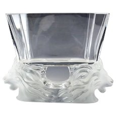 Lalique Art Glass Venise Double Lion Head Vase