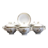 Set for 7 Royal Copenhagen Covered Cream Soup Cups and Saucers, Gold Animals