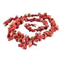 Vintage Italian Red Branch Graduated Nugget Coral Necklace, Springring Closure