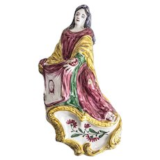 Continental Majolica Pottery Holy Water Font, hand painted St. Veronica, circa 1800