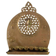 19th Century Middle Eastern Brass Oil Hanukkiah Menorah with Shamosh