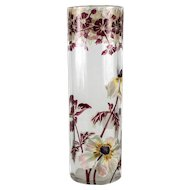 "Moser 11"" Art Glass Vase hand painted enamel flowers, gilt Fluted pillar c1920"