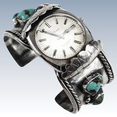 Navajo Sterling Silver Turquoise Nugget Cuff Watch Bracelet Signed RB
