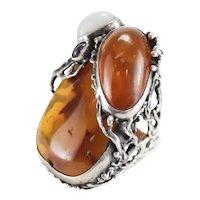 HUGE Ciro Baltic Amber Amethyst White Jade Sterling Silver Artisan Ring