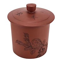 Japanese Shudei Pottery Tokoname ware Tea cup yunomi with lid. Calligraphy c1900