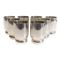 8pc Alan Adler Shot Glasses, small barrel shaped cups with Bun Feet
