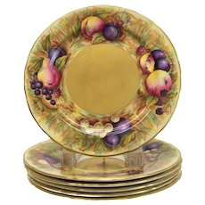 6pc Aynsley Gold Fruit Orchard Salad Plates signed N. Brunt. Peaches, plums