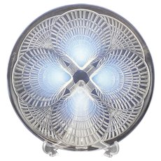 """Renee Lalique Coquilles Shells Opaline Art Glass Footed Plate c1920, 7.875"""""""