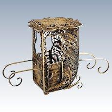 Filigree Gilt Sterling Silver Miniature Palanquin Palkhi Sedan 19th Century