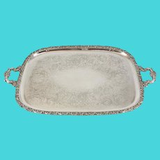 E.G. Webster Silverplate on Copper Dual Handle Serving Tray c1900 Foliate Design
