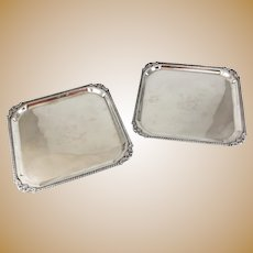 Pair B. Rogers Silverplate on copper Square Trays #6707 c1900 Unicorn Armorial