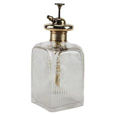 9k Yellow Gold Etched Glass Crystal Perfume Bottle Atomizer Continental, circa 1900