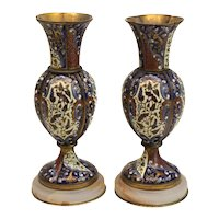 Pair of French Gilt Bronze Champleve Shaded Enamel Vases, 19th Century